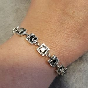 NAPIER Square silver black white bracelet